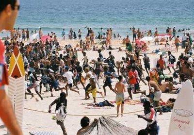 Turistas de todo o mundo participaram da prova em Copacabana.